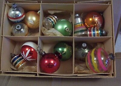 14 Vintage Christmas Tree Ornaments Poland U.S.A. Round Colored  Nice Bell Shape