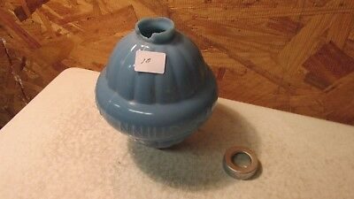 Antique W C Shinn Blue Milk glass Lightning Rod Ball  No. 10