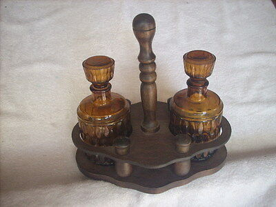 Amber Glass Decanters X 2 In Timber Holder