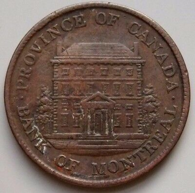 1842 PC-1A3 Province Of Canada Canadian 1/2  Penny Bank Of Montreal Token