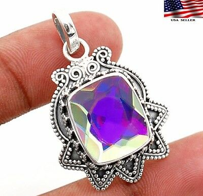 14CT Color Changing Rainbow Topaz 925 Sterling Silver Pendant Jewelry