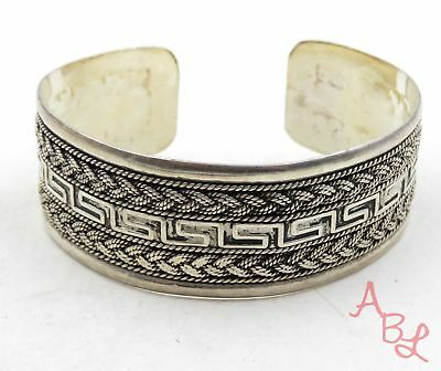 Sterling Silver Vintage 925 Braided Repousse Cuff Bracelet 7'' (33.8g) - 575097