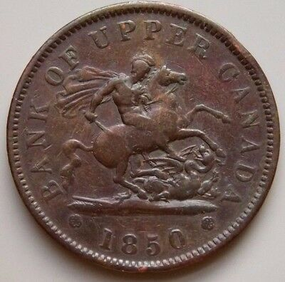 1850 PC-6A1  Province Of Canada Colonial Canadian Bank Of Upper Canada Token