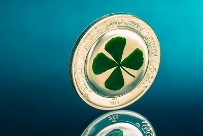 Palau 2013 5$ FOUR LEAF CLOVER With Real Clover Embedded 1Oz Silver NEW