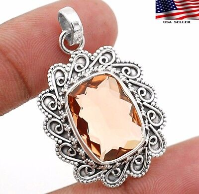 8CT Padparadscha Sapphire 925 Sterling Silver Detailed Design Pendant Jewelry