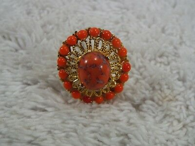 Goldtone Orange Bead  Ring ~ Adjustable Size 6-8 (A13)