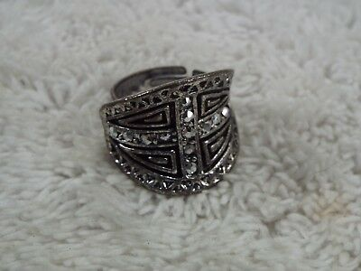 Medieval-Style Cross Silvertone Rhinestone Ring ~ Adjustable Size 8-10 (A13)