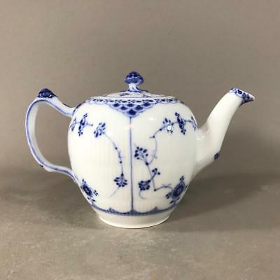 Antique ROYAL COPENHAGEN 'Blue Fluted' Half Lace Teapot 1/609, Denmark c. 1910