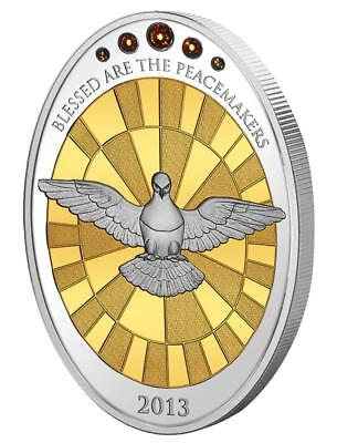 Cook 2013 Alabaster Window WORLD PEACE - Blessed Are The Peacemakers Silver Coin