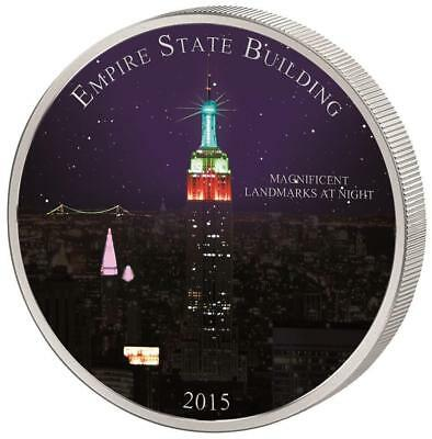 Cameroon 2015 1500 Fr Landmarks at Night Empire State Building 2oz Silver Coin