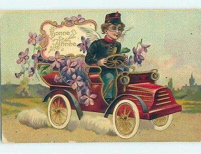 Pre-Linen foreign ANGEL WEARING UNIFORM DRIVING VERY OLD AUTOMOBILE CAR HL7509