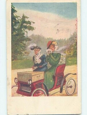 c1910 WOMEN RIDING IN VERY OLD ANTIQUE AUTOMOBILE CAR HL4741