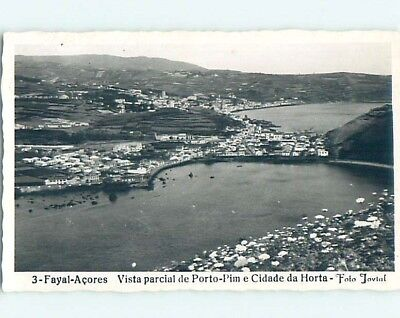 old rppc AERIAL VIEW OF TOWN Horta - Azores Portugal HM2295
