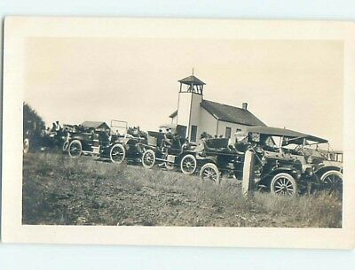 Pre-1920's rppc MANY VERY OLD AUTOMOBILE CARS IN CHURCH PARKING LOT HM0621