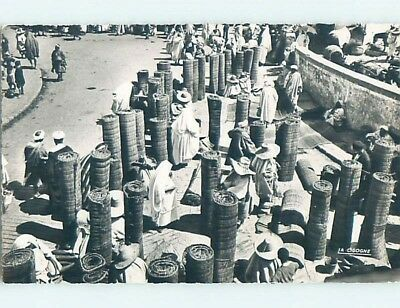 old rppc MERCHANTS SELL ROLLED UP CARPETS Tanger - Tangier Tanja Morocco HM2058