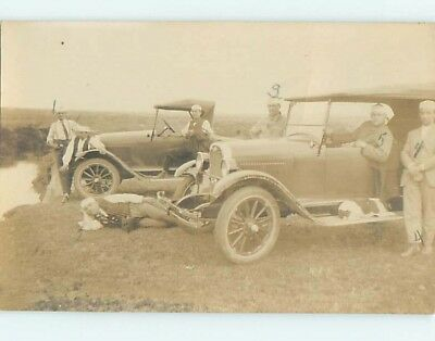 1925 rppc DOG LYING ON RUNNING BOARD Antique Chevrolet Cars in Mexico HM1558