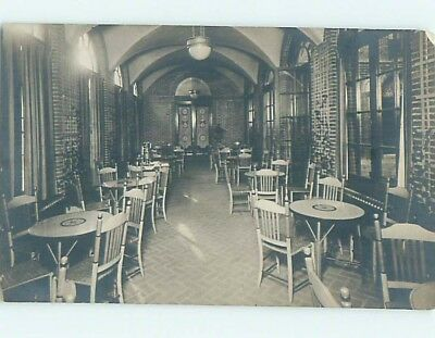 Chipped 1920's rppc INTERIOR VIEW OF RESTAURANT TABLES AND CHAIRS HM0562