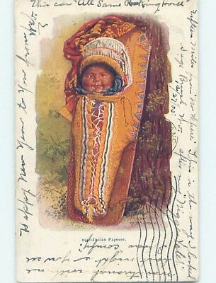 Pre-1907 NATIVE INDIAN BABY - ANTIQUE PAPOOSE BLANKET POUCH HL6796