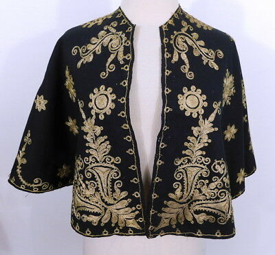 Antique 19th Century Turkish Ottoman Gold Embroidered Ornate Wool Cape