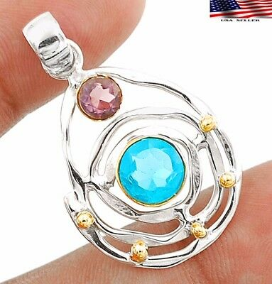 """2CT Two Tone Flawless Blue Topaz 925 Sterling Silver Pendant Jewelry 1 1/2"""" Long"""