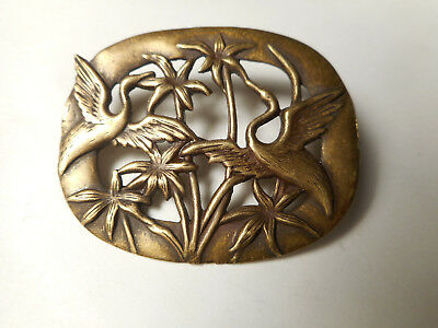 """Brass Birds Cranes or Heron in Flowers or Leaves Vintage Button 1-3/4"""""""