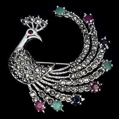 Awesome Emerald Marcasite Ruby Sapphire 925 Sterling Silver Peacock Brooch