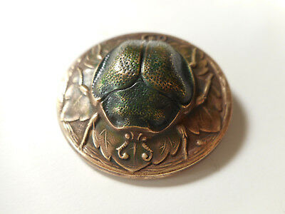 """Large Beetle on a Leaf Bug Insect Brass Antique Vintage Button 1-7/16"""""""