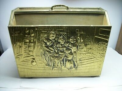 Vintage Brass Clad Wooden Magazine Rack Box Embossed Kitchen Fireplace Scene
