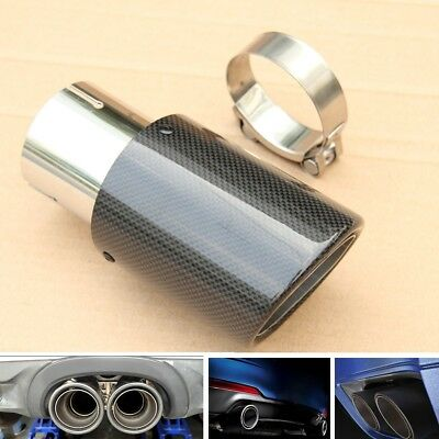 1x Carbon Fiber Exhaust Tips Muffler Pipe Carbon Fiber&steel 63MM IN-89MM OUT