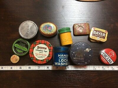 11 Vintage Advertising Tin Container Lot