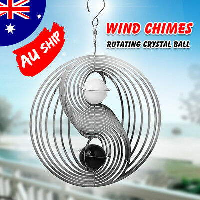 AU Stock Amazing Rotating Crystal Ball Windchime Church Garden Decor Wind Chimes