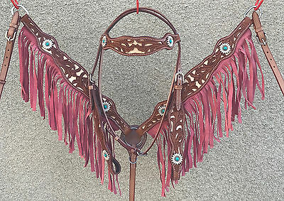 Western Leather Headstall & Breast Collar Set With Acorn Tooling & Turquoise