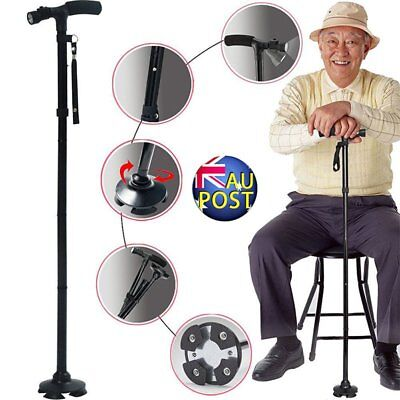 Walking Stick Cane Folding With Light LED Strap Handle Black Metal Adjustable GC