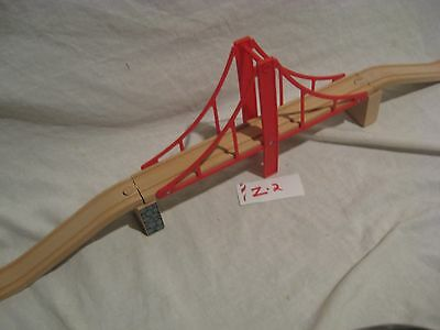 Red Bridge w Risers Ascending Track - Wooden Train * Thomas Brio Fits Many  *Z2*
