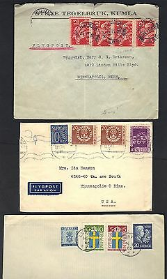 SWEDEN 1916-50s LARGE COLLECTION OF 50 POSTAL HISTORY COVERS INCLUDING 5 POST