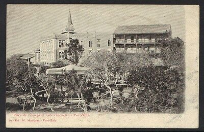 EGYPT 1880's UNUSED B&W PHOTO POST CARD OF PLACE DE LESSEPS PORT SAID RARE
