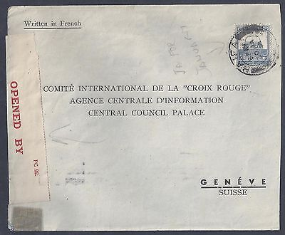 Palestine 1944 Haifa War Time Censored Cover To The Red Cross Committee In Genev