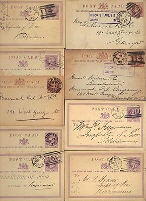 UK GB SCOTLAND 1870-90's COLL OF 9 POSTAL CARDS WITH DIFF SCOTTISH TOWN CANCELS