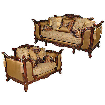 Traditional High End Set/2  Silk Set Charlotte Formal Living Room Sofa
