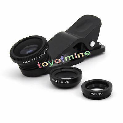 Universal 3in1 Kit Fisheye Lens Wide Angle Micro Lens for iPhone Mobile Phone