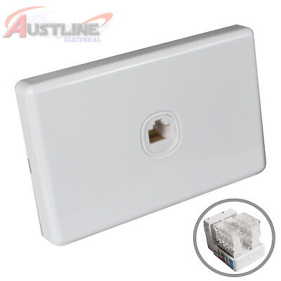 1 Port Gang Cat6 Wall Plate Clipsal Style RJ45 Cat 6 Jack +C-Clip AwC90