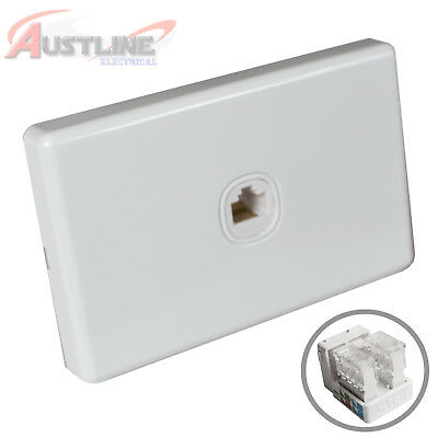 1Gang Network Cat6 Wall Plate Clipsal Style 1Port RJ45 LAN Jack +C-Clip Aw1C9