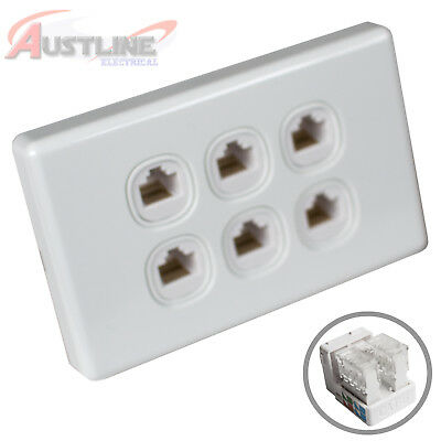 6Port Gang Cat6 Wall Plate Clipsal Style 6 RJ45 Cat 6 Jack +C-Clip AwC90
