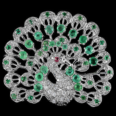 Genuine Columbian Green Emerald Ruby & Cz Sterling 925 Silver Peacock Brooch