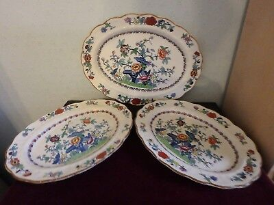 """Booths English China """"the Pompadour""""  Three Gorgeous Oval Platters"""