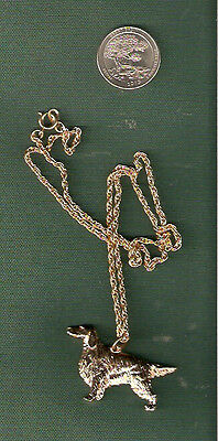 "Irish or English Setter Gold Plated Necklace Pendant 20"" Chain Jewelry"