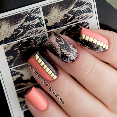 Water Decals Snakeskin Theme Nail Art Transfer Stickers Tips Black Blue Unique