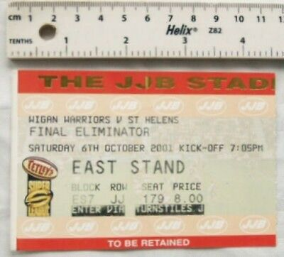 2001 ticket Wigan Warriors v. St. Helens