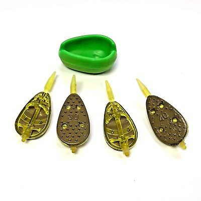 NEW 4 INLINE METHOD FEEDERS + RUBBER MOULD 2 x 30g + 2 x 40g CARP FISHING TACKLE