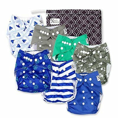 Nautical Baby Cloth Pocket Diapers 7 Pack 7 Bamboo Inserts 1 Wet Bag by
